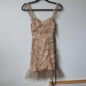 Prettylittlething Nude Polkadot Mesh Bodycon Dress